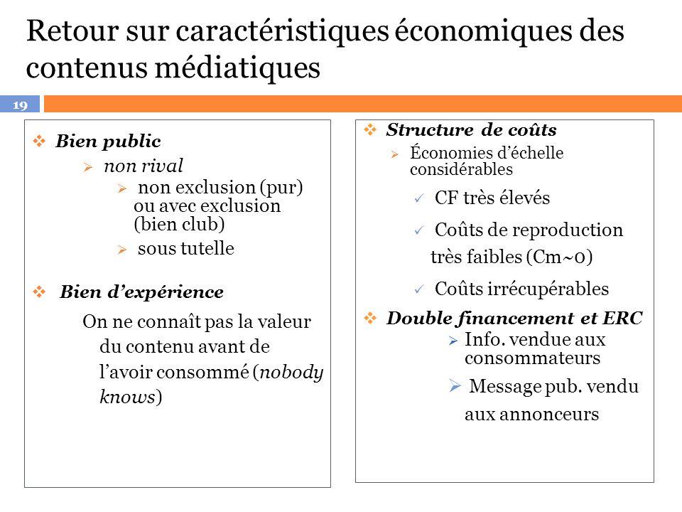 Retour sur caractéristiques économiques des contenus médiatiques