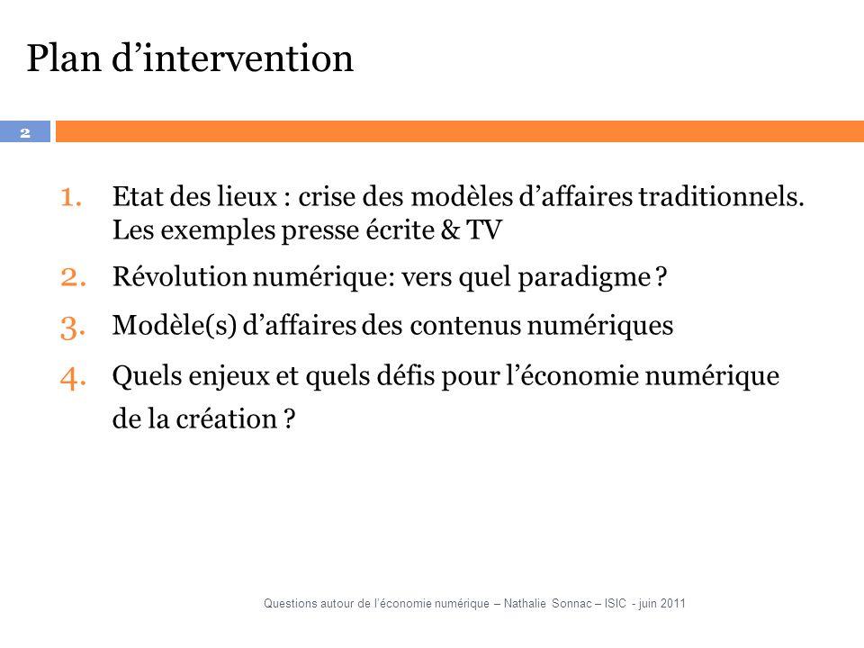 Plan d'intervention Etat des lieux : crise des modèles d'affaires traditionnels. Les exemples presse écrite & TV.