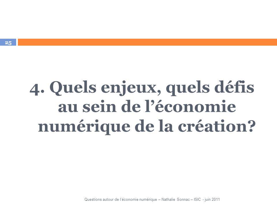 4. Quels enjeux, quels défis au sein de l'économie numérique de la création