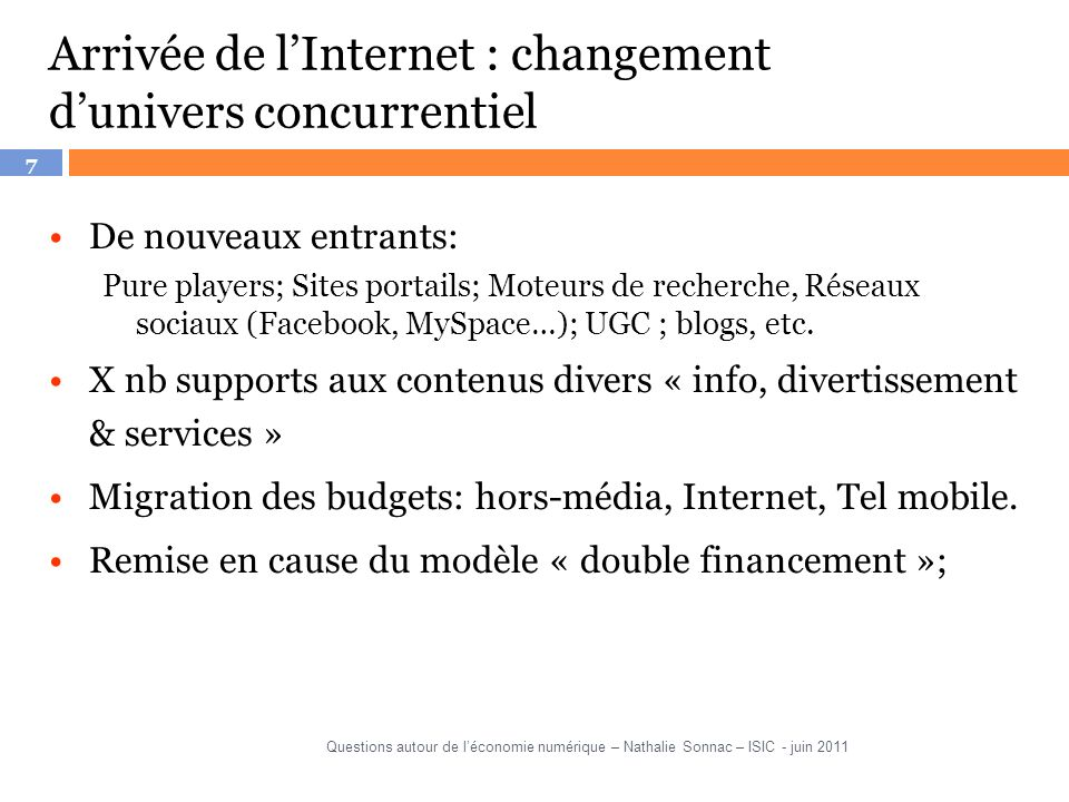 Arrivée de l'Internet : changement d'univers concurrentiel