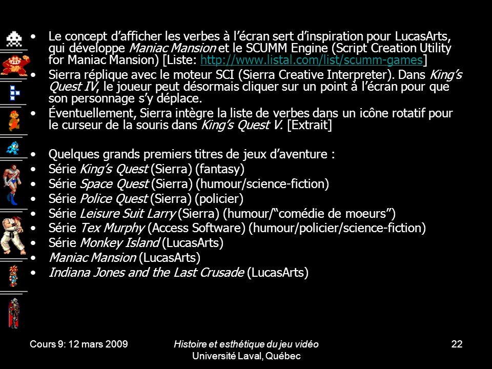 Histoire et esthétique du jeu vidéo Université Laval, Québec