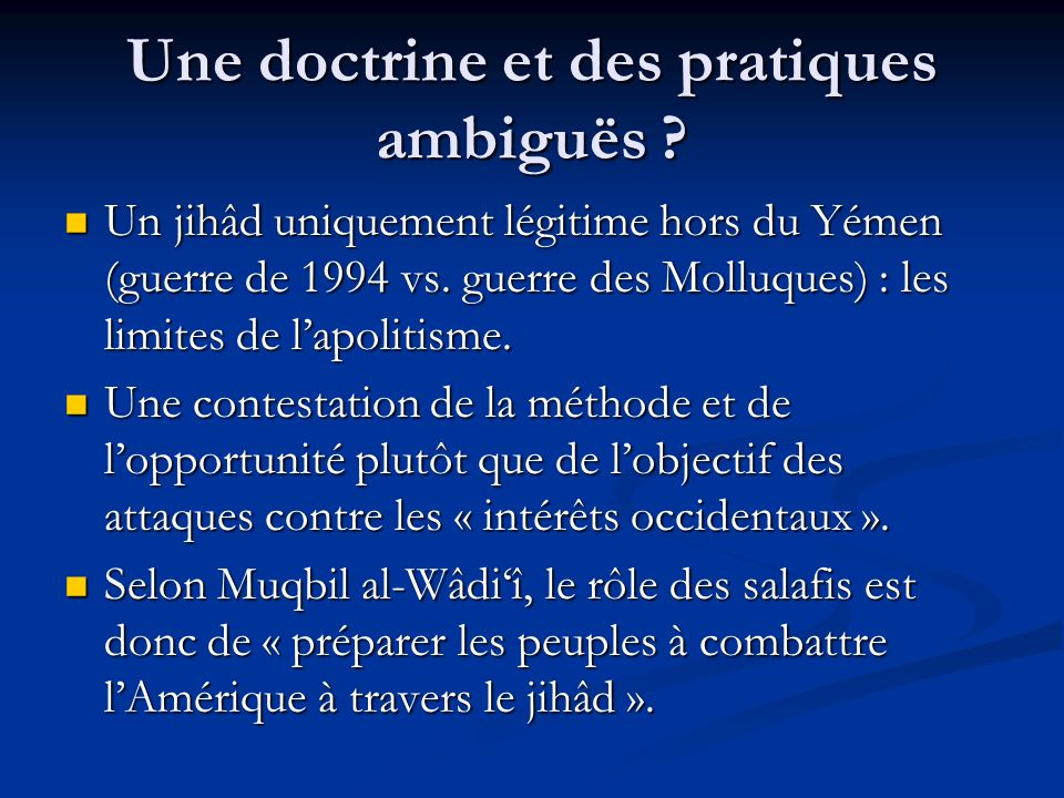 Une doctrine et des pratiques ambiguës
