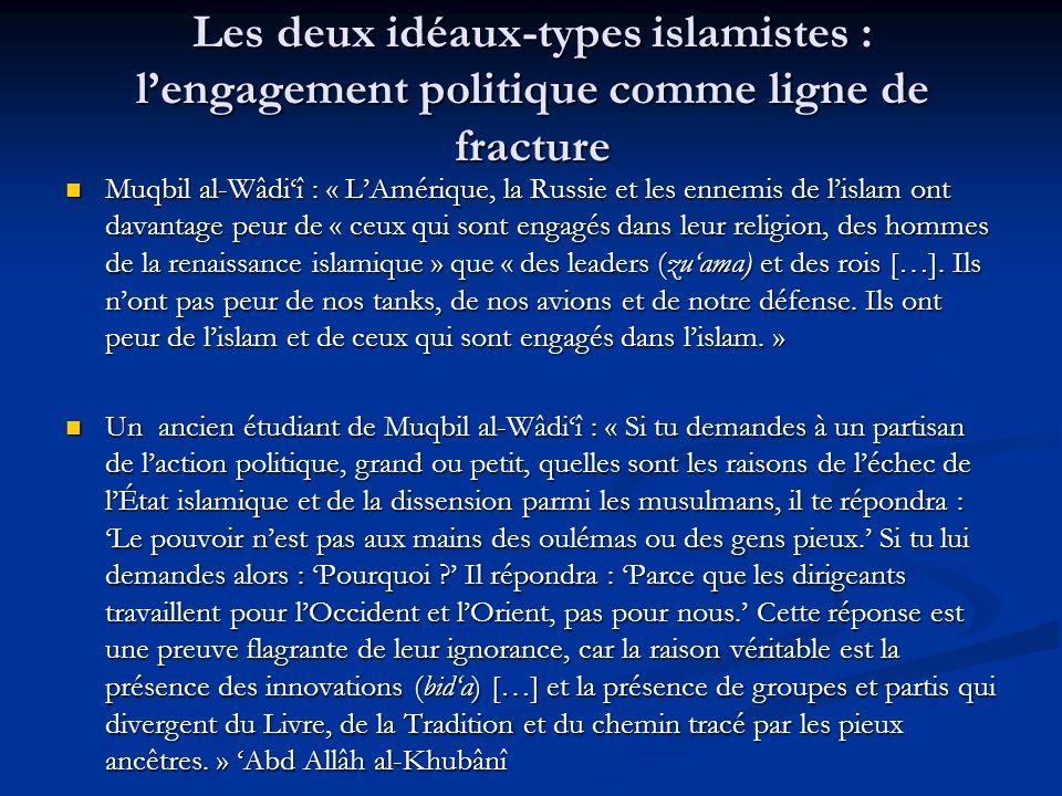 Les deux idéaux-types islamistes : l'engagement politique comme ligne de fracture