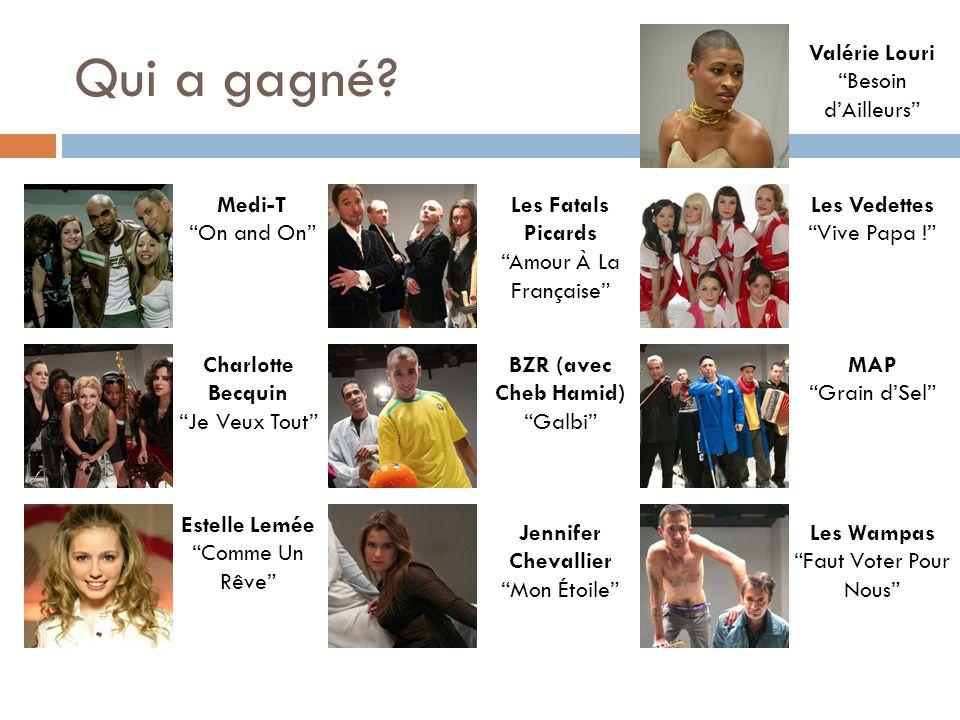 Qui a gagné Valérie Louri Besoin d'Ailleurs Medi-T On and On