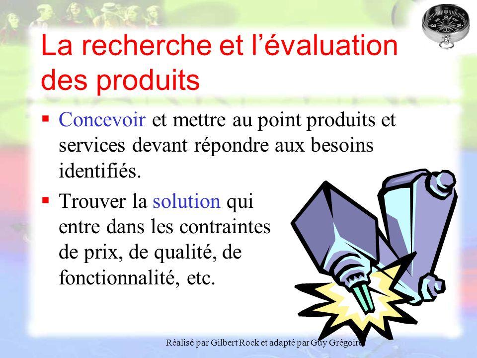La recherche et l'évaluation des produits