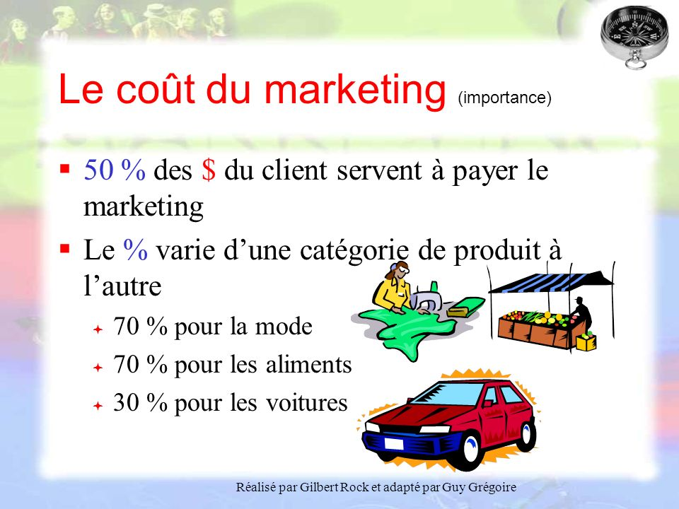Le coût du marketing (importance)
