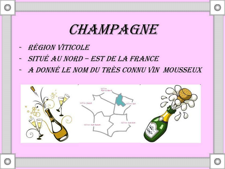 CHAMPAGNE RÉGION VITICOLE SITUÉ AU NORD – EST DE LA FRANCE