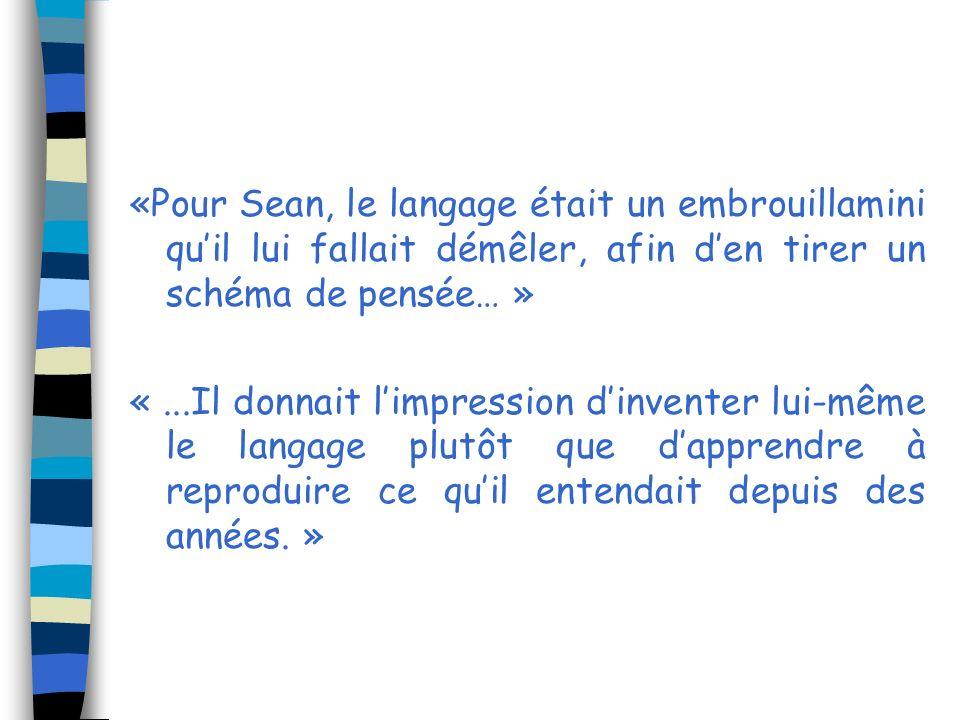 «Pour Sean, le langage était un embrouillamini qu'il lui fallait démêler, afin d'en tirer un schéma de pensée… »