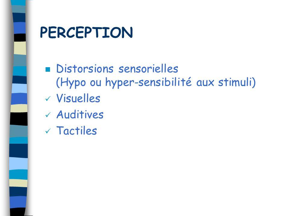 PERCEPTION Distorsions sensorielles (Hypo ou hyper-sensibilité aux stimuli) Visuelles.