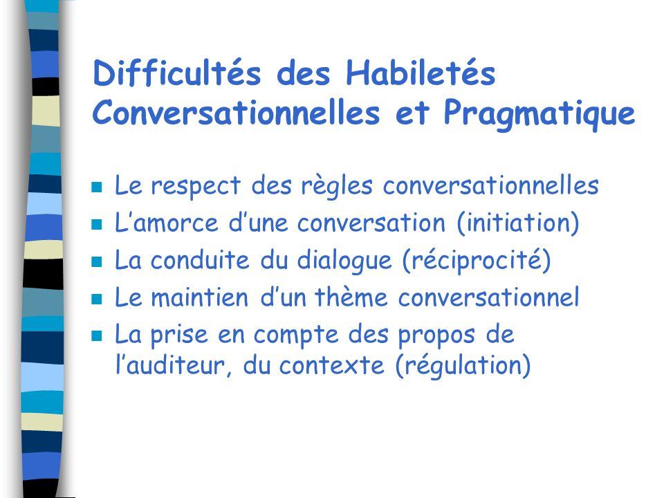 Difficultés des Habiletés Conversationnelles et Pragmatique