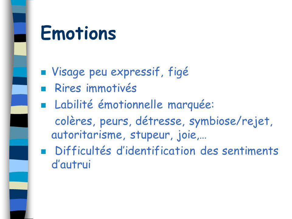 Emotions Visage peu expressif, figé Rires immotivés