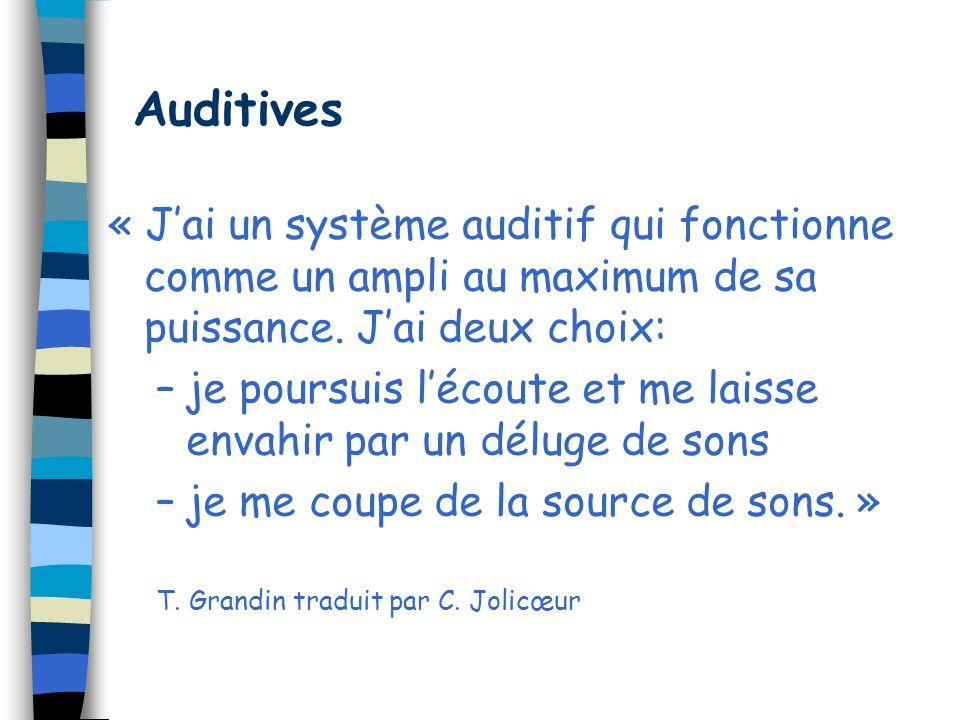 Auditives « J'ai un système auditif qui fonctionne comme un ampli au maximum de sa puissance. J'ai deux choix:
