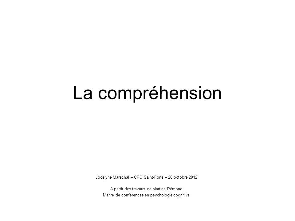 La compréhension Jocelyne Maréchal – CPC Saint-Fons – 26 octobre 2012
