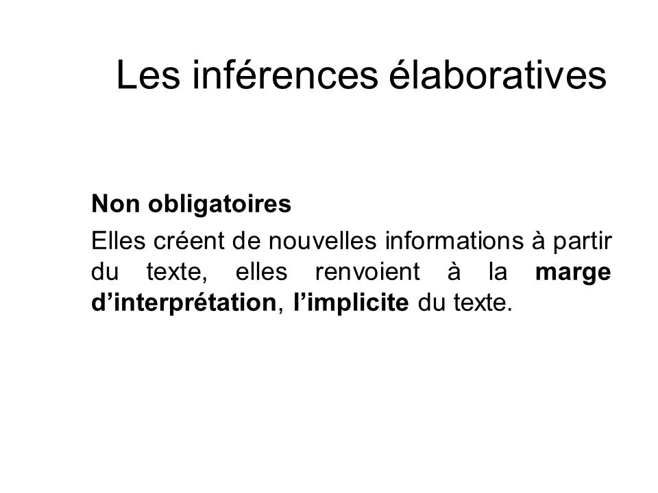 Les inférences élaboratives