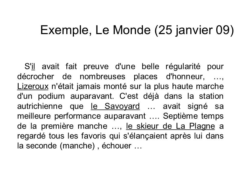 Exemple, Le Monde (25 janvier 09)
