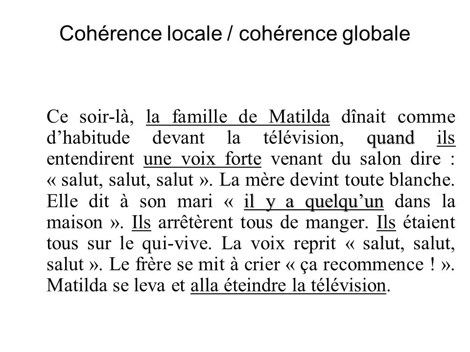 Cohérence locale / cohérence globale