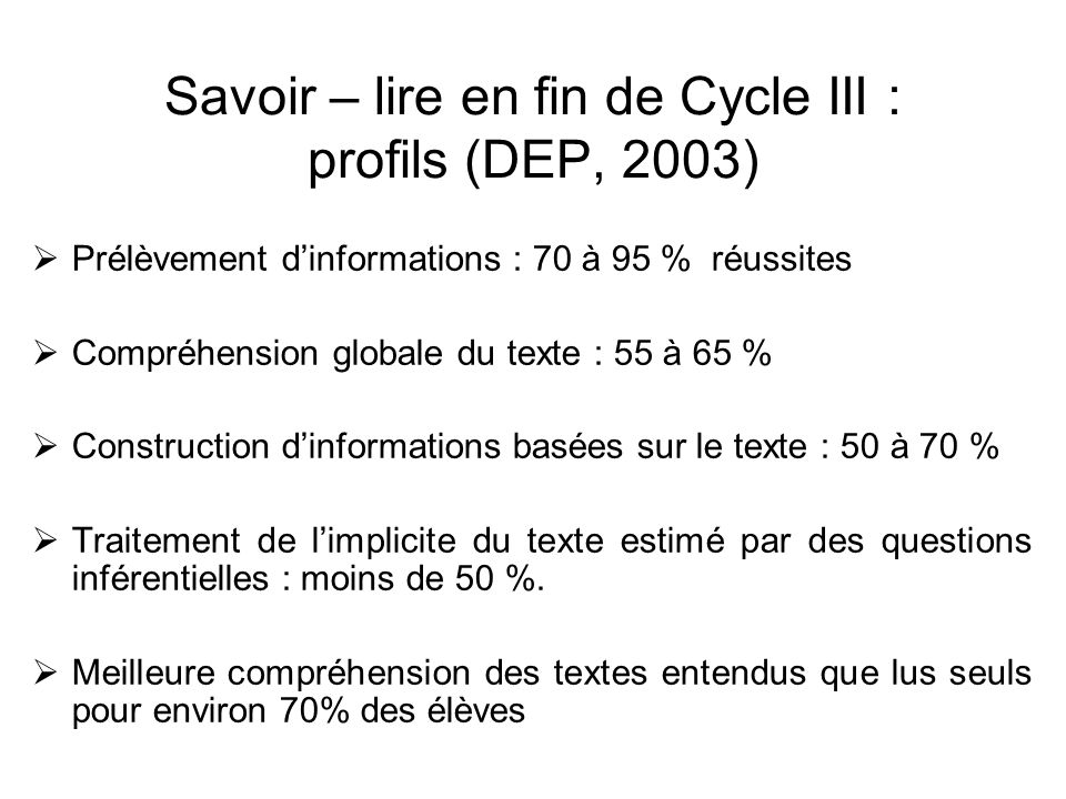 Savoir – lire en fin de Cycle III : profils (DEP, 2003)