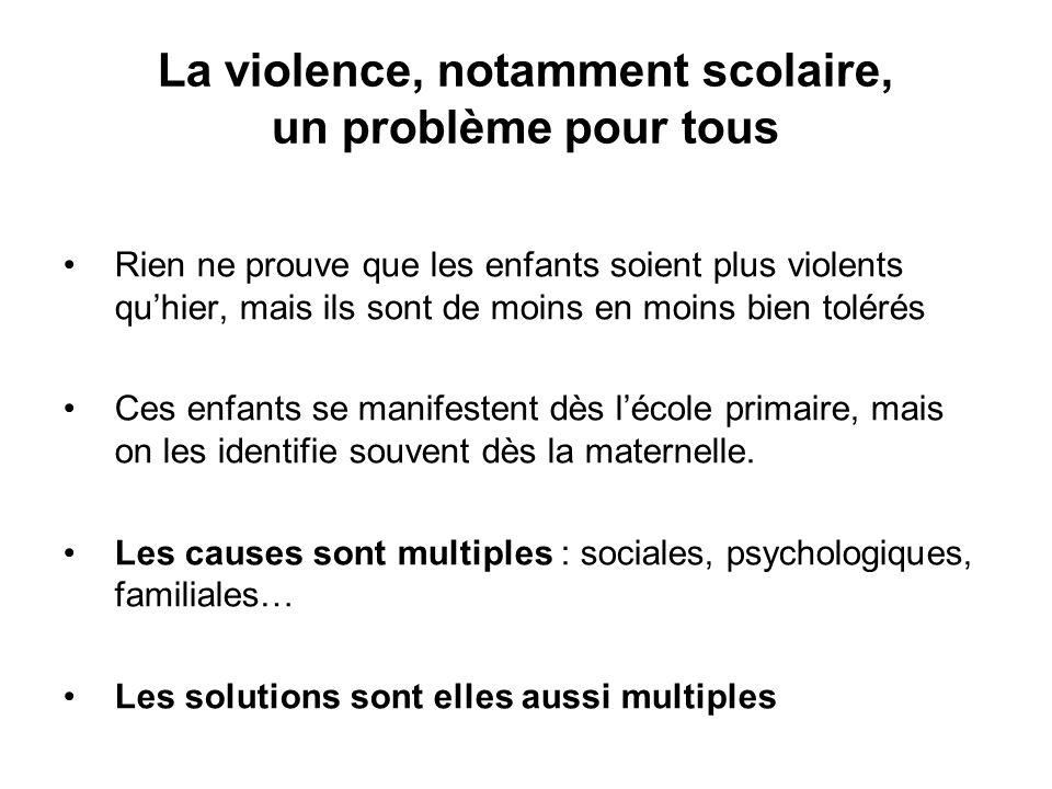 La violence, notamment scolaire, un problème pour tous