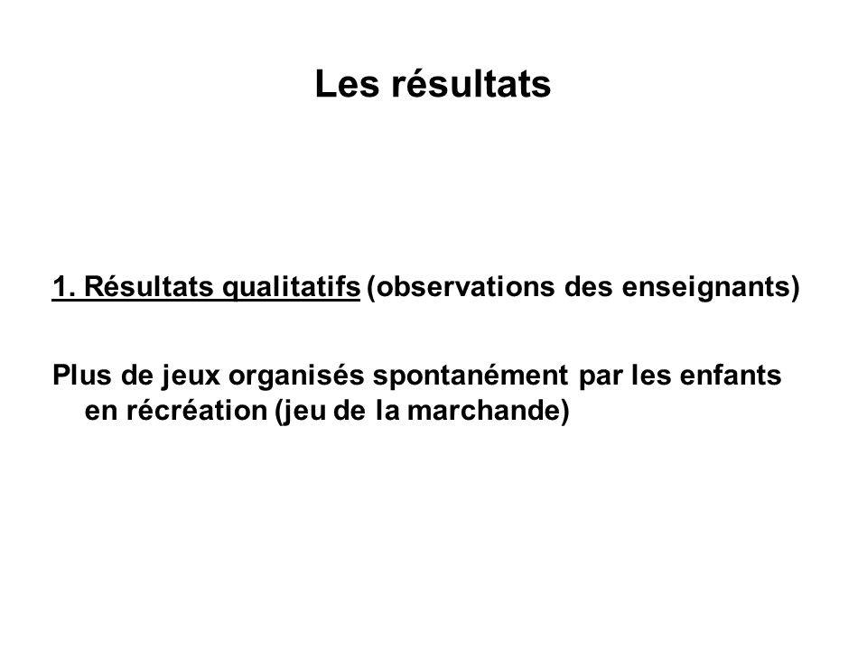 Les résultats 1. Résultats qualitatifs (observations des enseignants)