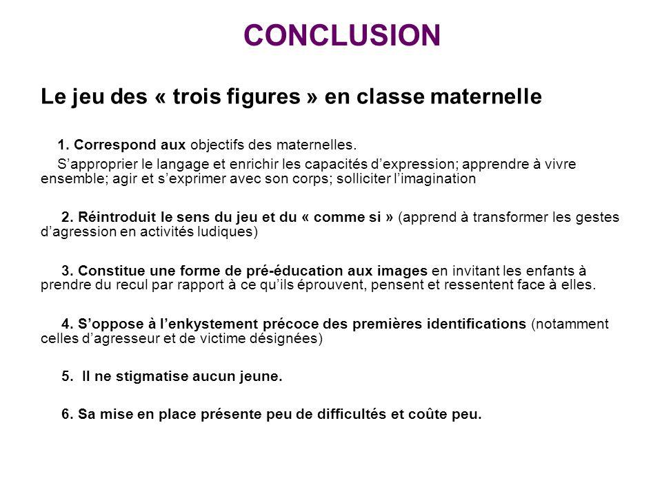 CONCLUSION Le jeu des « trois figures » en classe maternelle