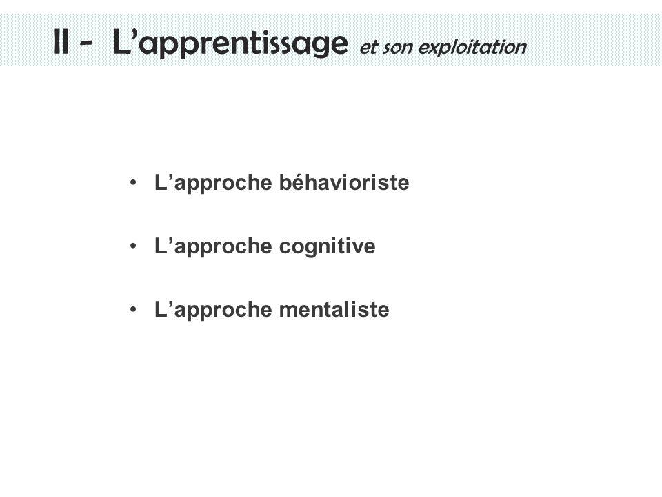 II - L'apprentissage et son exploitation