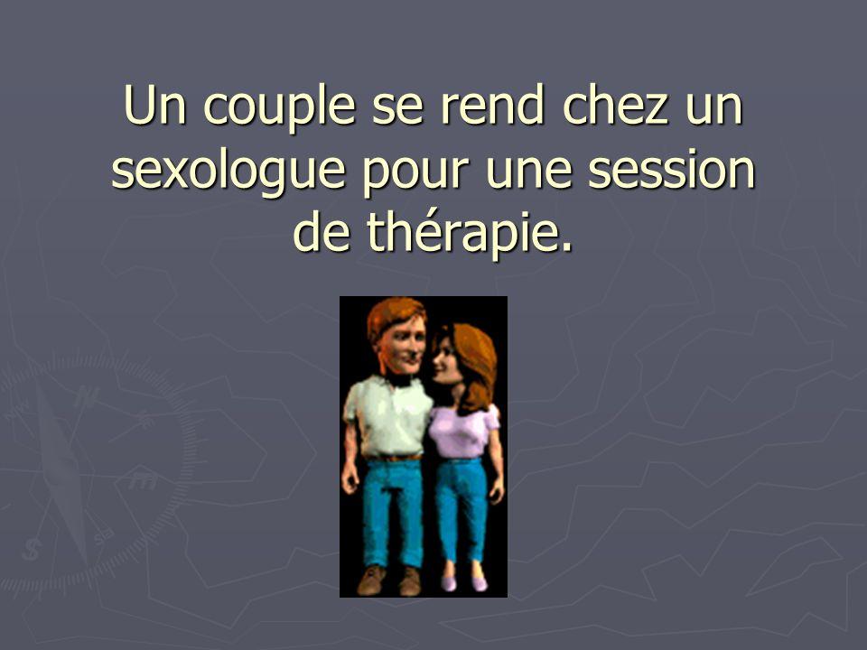 Un couple se rend chez un sexologue pour une session de thérapie.