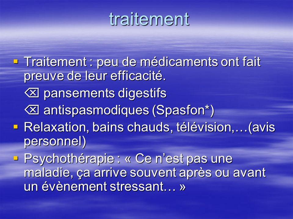 traitement Traitement : peu de médicaments ont fait preuve de leur efficacité.  pansements digestifs.