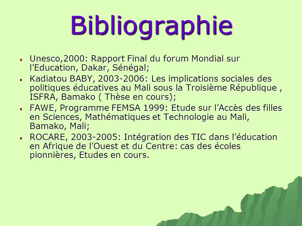 Bibliographie Unesco,2000: Rapport Final du forum Mondial sur l'Education, Dakar, Sénégal;