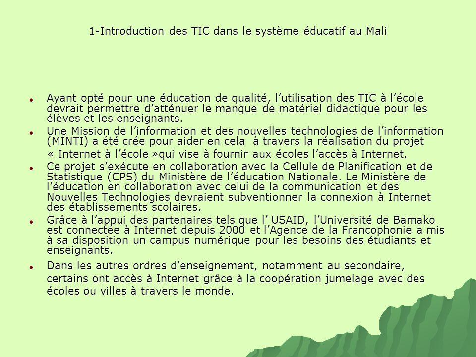 1-Introduction des TIC dans le système éducatif au Mali