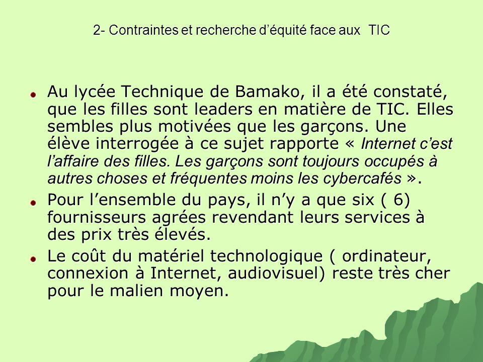 2- Contraintes et recherche d'équité face aux TIC