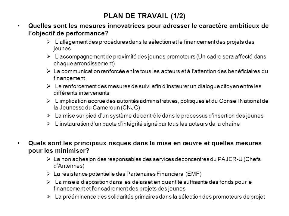 PLAN DE TRAVAIL (1/2) Quelles sont les mesures innovatrices pour adresser le caractère ambitieux de l'objectif de performance