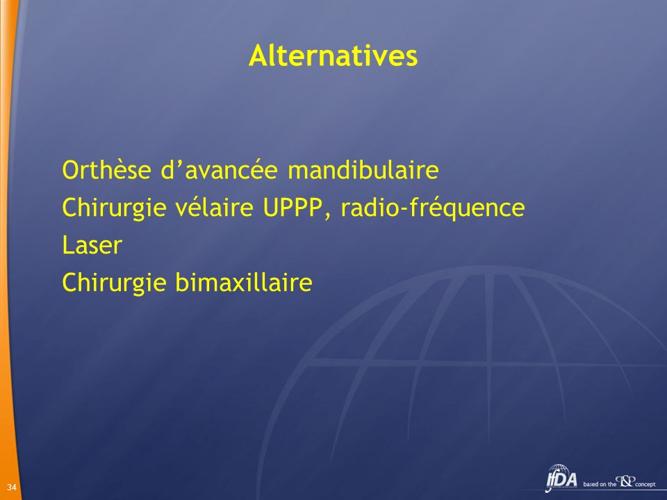 Alternatives Orthèse d'avancée mandibulaire
