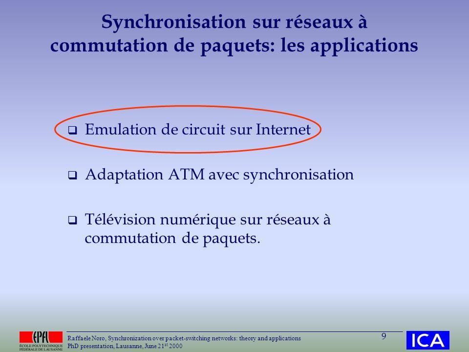 Synchronisation sur réseaux à commutation de paquets: les applications