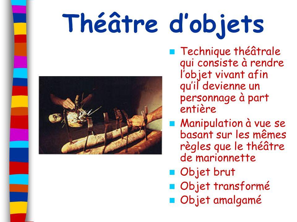 Théâtre d'objets Technique théâtrale qui consiste à rendre l'objet vivant afin qu'il devienne un personnage à part entière.