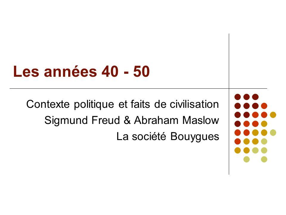 Les années 40 - 50 Contexte politique et faits de civilisation