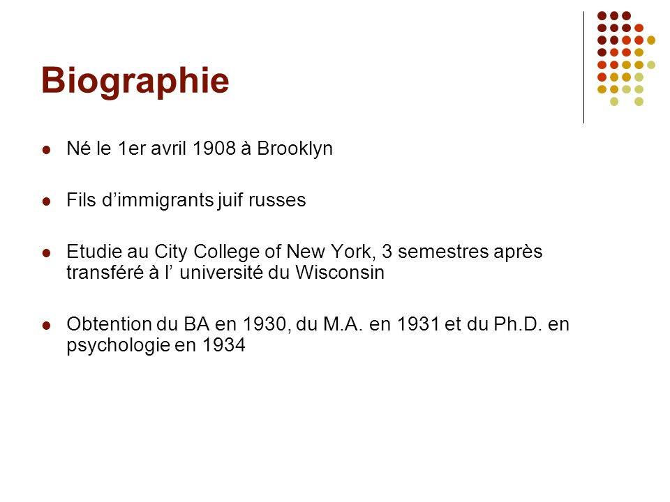 Biographie Né le 1er avril 1908 à Brooklyn