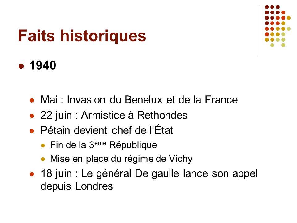 Faits historiques 1940 Mai : Invasion du Benelux et de la France