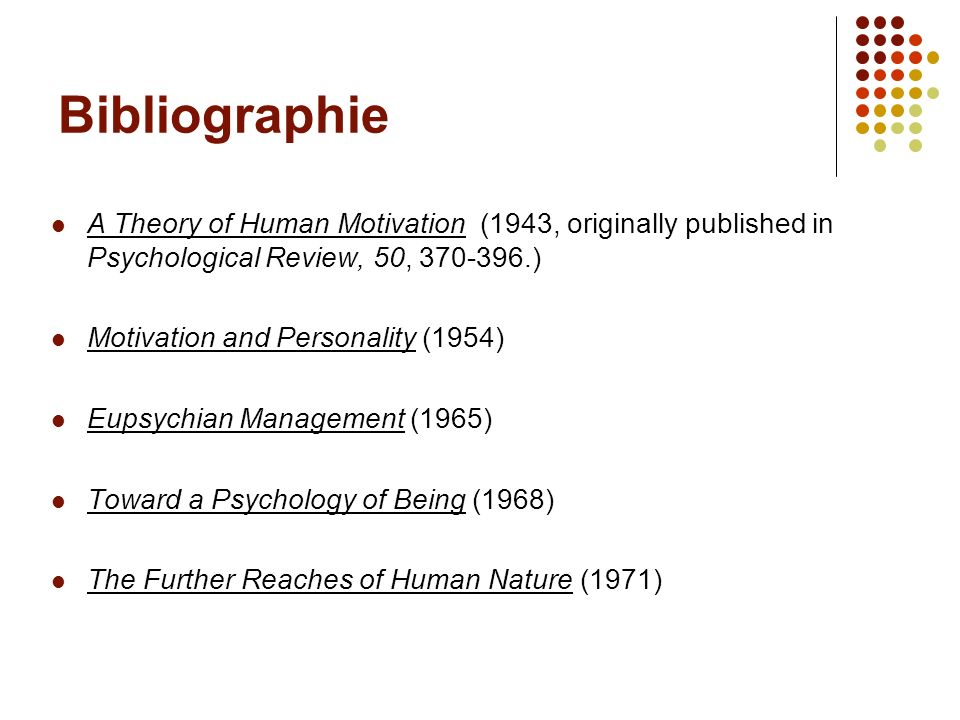 Bibliographie A Theory of Human Motivation (1943, originally published in Psychological Review, 50, 370-396.)