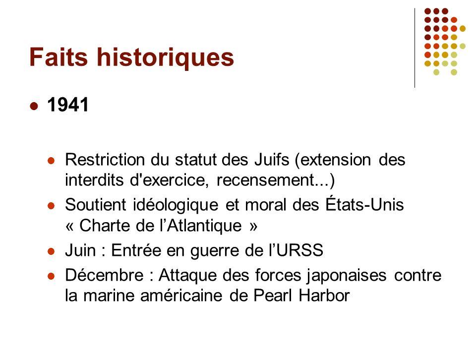 Faits historiques 1941. Restriction du statut des Juifs (extension des interdits d exercice, recensement...)