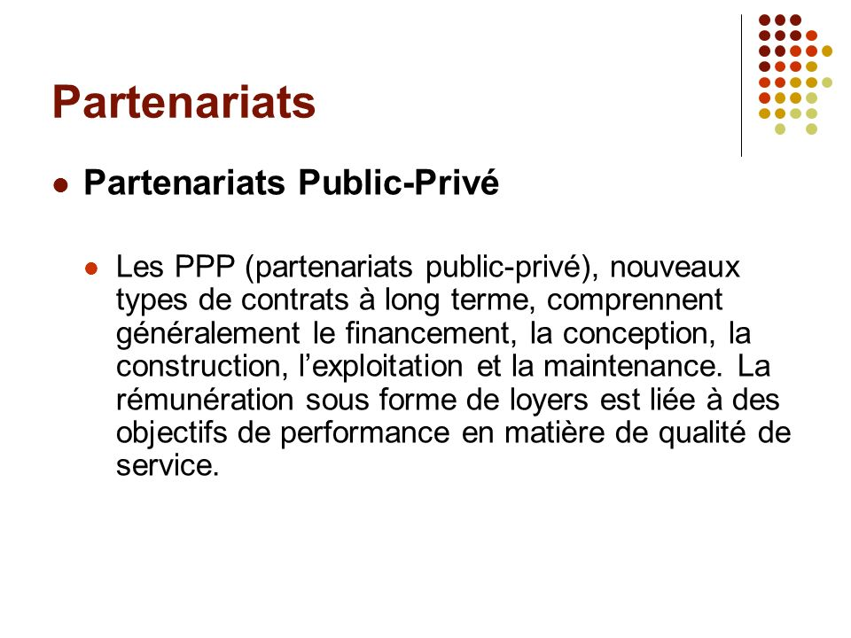 Partenariats Partenariats Public-Privé