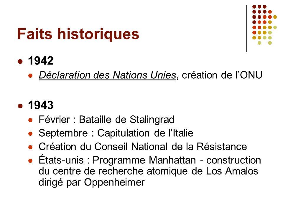 Faits historiques 1942. Déclaration des Nations Unies, création de l'ONU. 1943. Février : Bataille de Stalingrad.