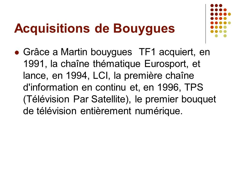 Acquisitions de Bouygues