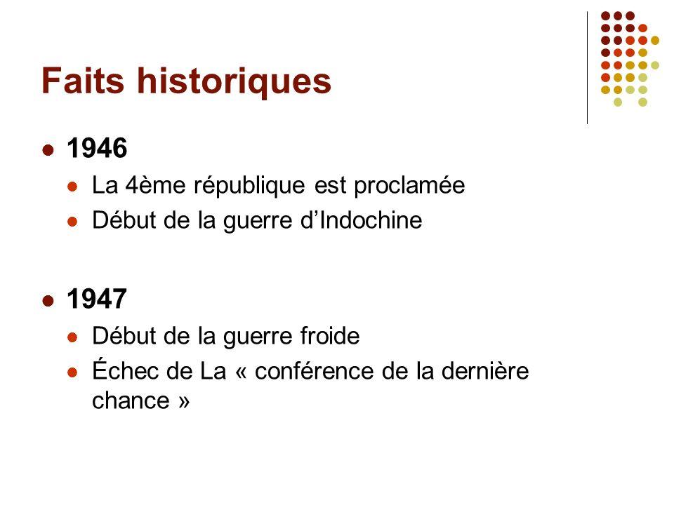 Faits historiques 1946 1947 La 4ème république est proclamée
