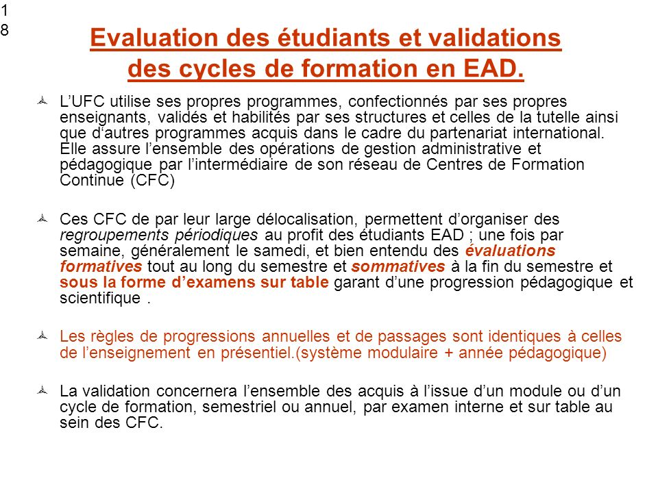 1818 1818. Evaluation des étudiants et validations des cycles de formation en EAD.