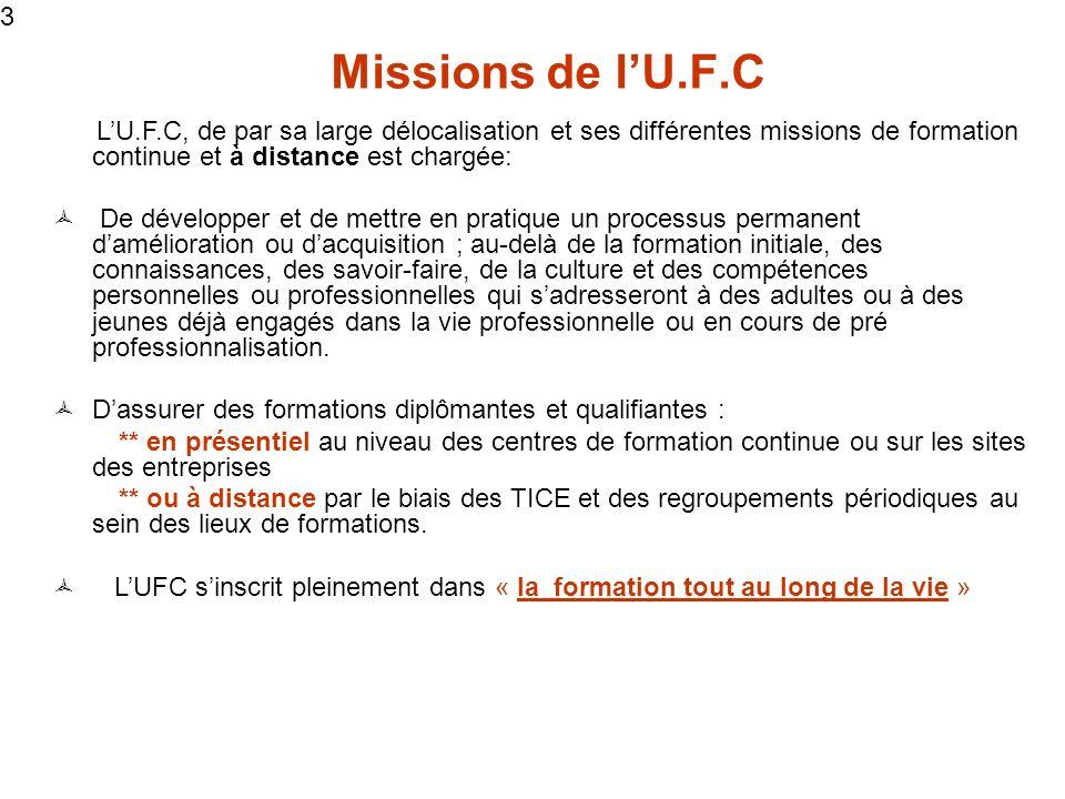 3 3. Missions de l'U.F.C. L'U.F.C, de par sa large délocalisation et ses différentes missions de formation continue et à distance est chargée: