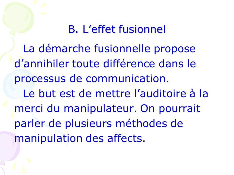 B. L'effet fusionnel La démarche fusionnelle propose. d'annihiler toute différence dans le. processus de communication.