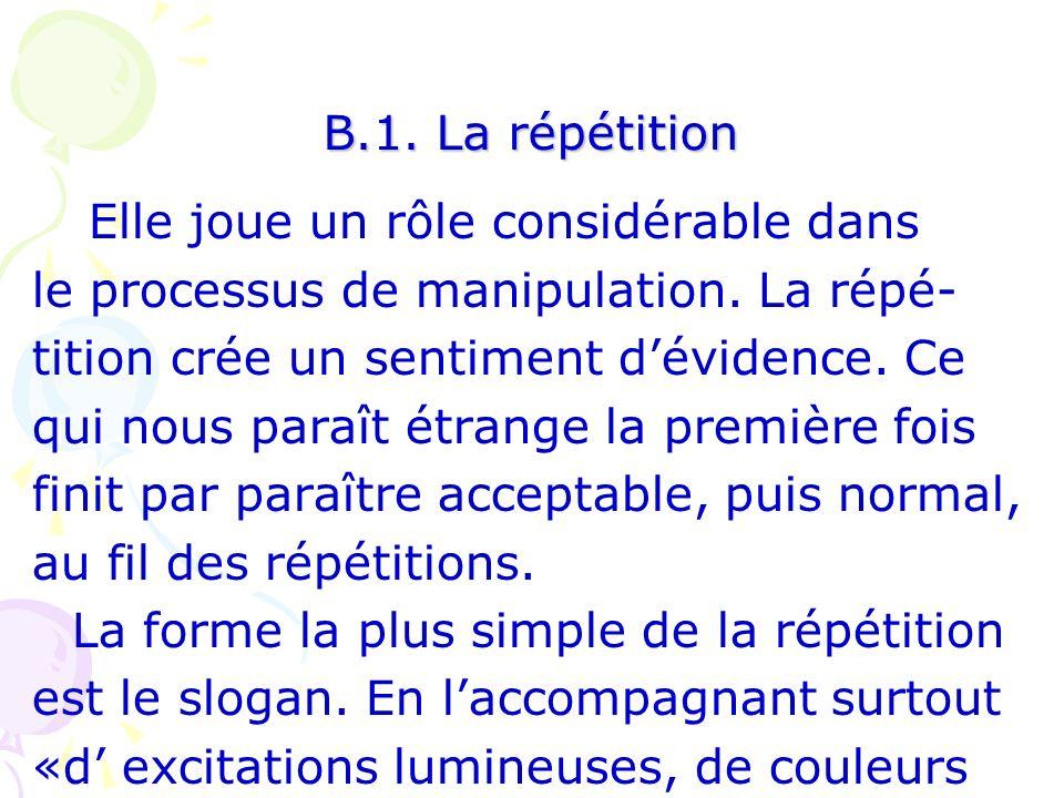 B.1. La répétition Elle joue un rôle considérable dans. le processus de manipulation. La répé- tition crée un sentiment d'évidence. Ce.