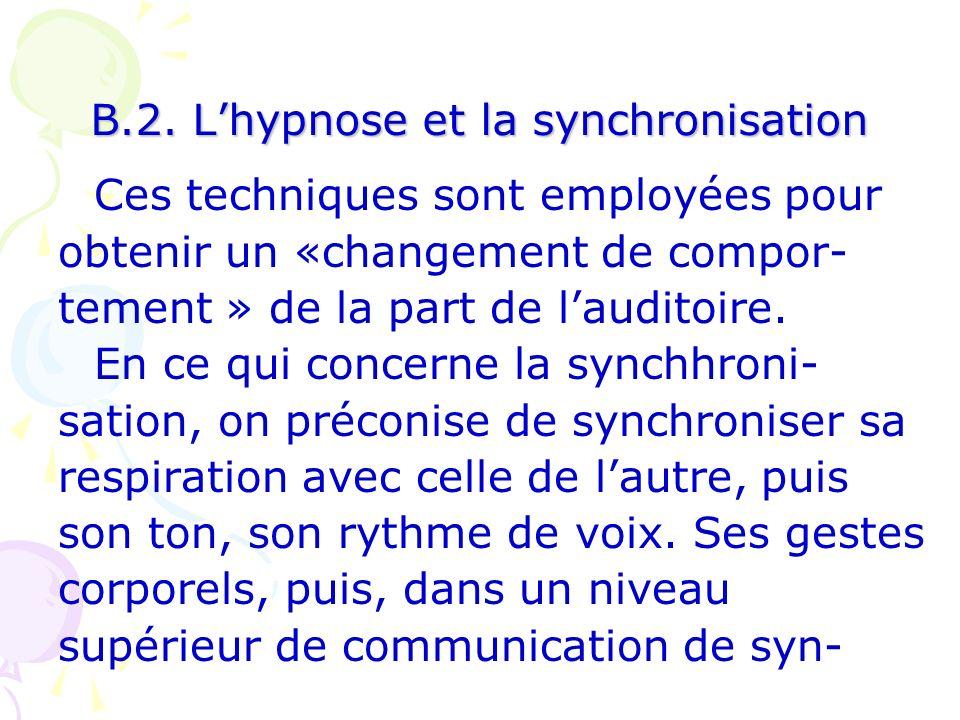 B.2. L'hypnose et la synchronisation