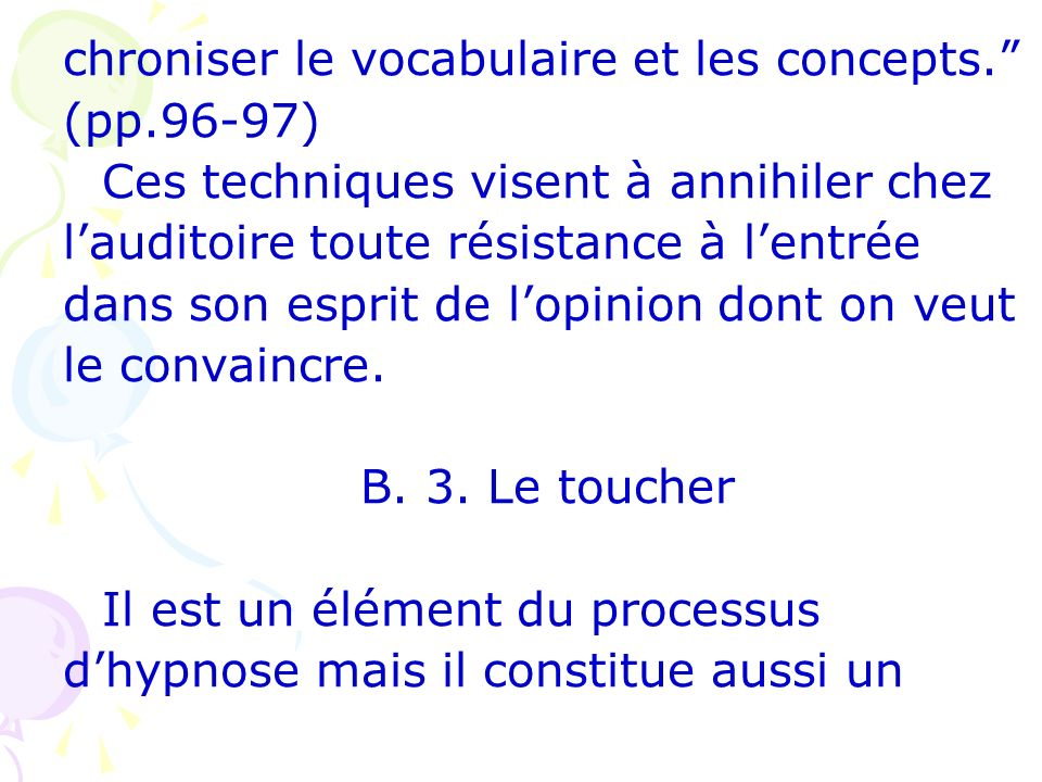 chroniser le vocabulaire et les concepts.