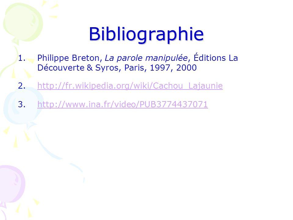 Bibliographie Philippe Breton, La parole manipulée, Éditions La Découverte & Syros, Paris, 1997, 2000.